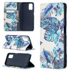 Blue Leaf Slim Magnetic Attraction Wallet Flip Cover for Oppo A52