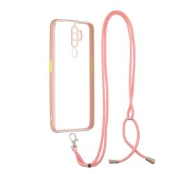 Necklace Cross-body Lanyard Strap Cord Phone Case Cover for Oppo A5 (2020) - Pink