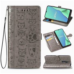 Embossing Dog Paw Kitten and Puppy Leather Wallet Case for Oppo A5 (2020) - Gray