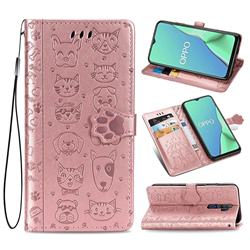 Embossing Dog Paw Kitten and Puppy Leather Wallet Case for Oppo A5 (2020) - Rose Gold
