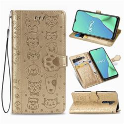 Embossing Dog Paw Kitten and Puppy Leather Wallet Case for Oppo A5 (2020) - Champagne Gold