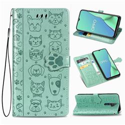 Embossing Dog Paw Kitten and Puppy Leather Wallet Case for Oppo A5 (2020) - Green
