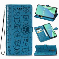 Embossing Dog Paw Kitten and Puppy Leather Wallet Case for Oppo A5 (2020) - Blue