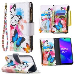 Vivid Flying Butterflies Binfen Color BF03 Retro Zipper Leather Wallet Phone Case for Oppo A5 (2020)