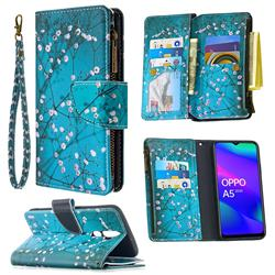 Blue Plum Binfen Color BF03 Retro Zipper Leather Wallet Phone Case for Oppo A5 (2020)