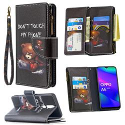Chainsaw Bear Binfen Color BF03 Retro Zipper Leather Wallet Phone Case for Oppo A5 (2020)