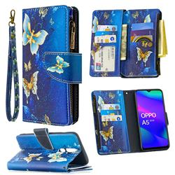 Golden Butterflies Binfen Color BF03 Retro Zipper Leather Wallet Phone Case for Oppo A5 (2020)