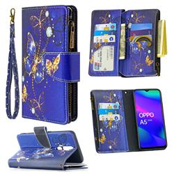 Purple Butterfly Binfen Color BF03 Retro Zipper Leather Wallet Phone Case for Oppo A5 (2020)