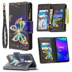Golden Shining Butterfly Binfen Color BF03 Retro Zipper Leather Wallet Phone Case for Oppo A5 (2020)