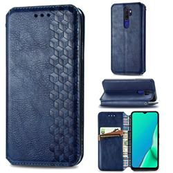 Ultra Slim Fashion Business Card Magnetic Automatic Suction Leather Flip Cover for Oppo A5 (2020) - Dark Blue