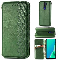 Ultra Slim Fashion Business Card Magnetic Automatic Suction Leather Flip Cover for Oppo A5 (2020) - Green