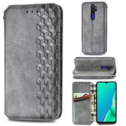 Ultra Slim Fashion Business Card Magnetic Automatic Suction Leather Flip Cover for Oppo A5 (2020) - Grey