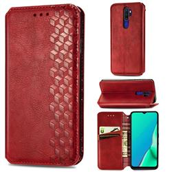 Ultra Slim Fashion Business Card Magnetic Automatic Suction Leather Flip Cover for Oppo A5 (2020) - Red