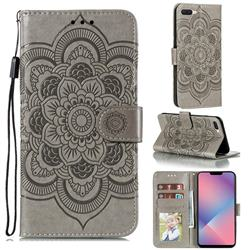 Intricate Embossing Datura Solar Leather Wallet Case for Oppo A5 (2020) - Gray