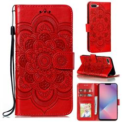 Intricate Embossing Datura Solar Leather Wallet Case for Oppo A5 (2020) - Red