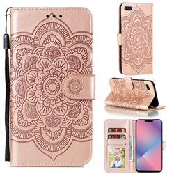 Intricate Embossing Datura Solar Leather Wallet Case for Oppo A5 (2020) - Rose Gold