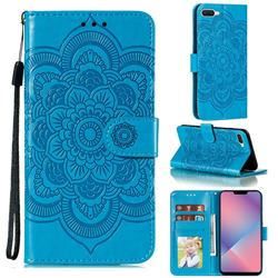 Intricate Embossing Datura Solar Leather Wallet Case for Oppo A5 (2020) - Blue
