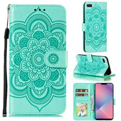 Intricate Embossing Datura Solar Leather Wallet Case for Oppo A5 (2020) - Green