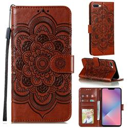 Intricate Embossing Datura Solar Leather Wallet Case for Oppo A5 (2020) - Brown