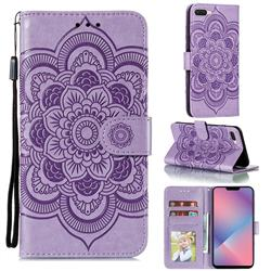 Intricate Embossing Datura Solar Leather Wallet Case for Oppo A5 (2020) - Purple