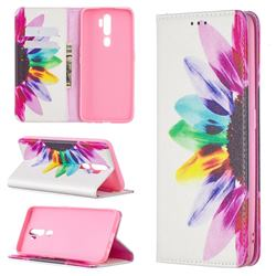 Sun Flower Slim Magnetic Attraction Wallet Flip Cover for Oppo A5 (2020)