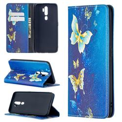 Gold Butterfly Slim Magnetic Attraction Wallet Flip Cover for Oppo A5 (2020)