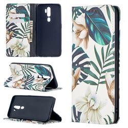 Flower Leaf Slim Magnetic Attraction Wallet Flip Cover for Oppo A5 (2020)