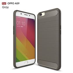 Luxury Carbon Fiber Brushed Wire Drawing Silicone TPU Back Cover for Oppo A59 (Gray)