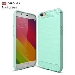 Luxury Carbon Fiber Brushed Wire Drawing Silicone TPU Back Cover for Oppo A59 (Mint Green)