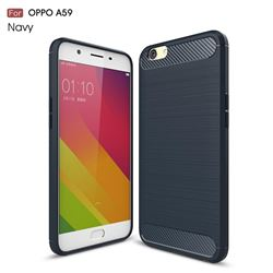 Luxury Carbon Fiber Brushed Wire Drawing Silicone TPU Back Cover for Oppo A59 (Navy)