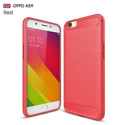 Luxury Carbon Fiber Brushed Wire Drawing Silicone TPU Back Cover for Oppo A59 (Red)
