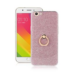 Luxury Soft TPU Glitter Back Ring Cover with 360 Rotate Finger Holder Buckle for Oppo A59 - Pink
