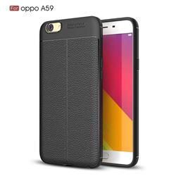 Luxury Auto Focus Litchi Texture Silicone TPU Back Cover for Oppo A59 - Black