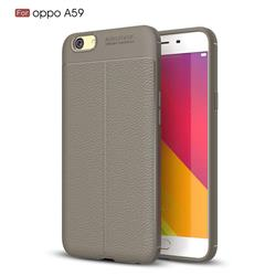 Luxury Auto Focus Litchi Texture Silicone TPU Back Cover for Oppo A59 - Gray