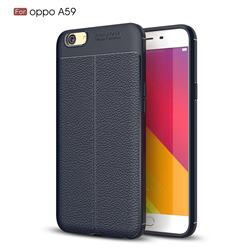 Luxury Auto Focus Litchi Texture Silicone TPU Back Cover for Oppo A59 - Dark Blue