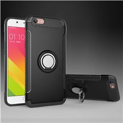 Armor Anti Drop Carbon PC + Silicon Invisible Ring Holder Phone Case for Oppo A59 - Black