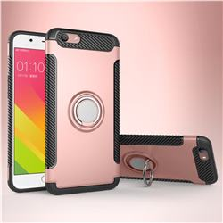 Armor Anti Drop Carbon PC + Silicon Invisible Ring Holder Phone Case for Oppo A59 - Rose Gold