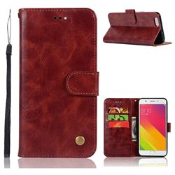Luxury Retro Leather Wallet Case for Oppo A59 - Wine Red