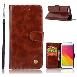 Luxury Retro Leather Wallet Case for Oppo A59 - Brown