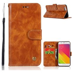 Luxury Retro Leather Wallet Case for Oppo A59 - Golden