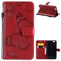Embossing 3D Butterfly Leather Wallet Case for Oppo A59 - Red