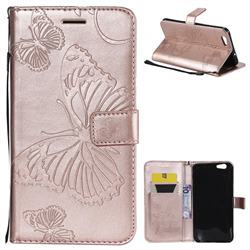 Embossing 3D Butterfly Leather Wallet Case for Oppo A59 - Rose Gold