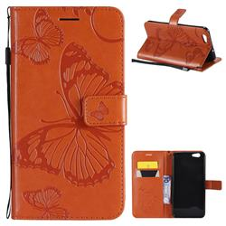 Embossing 3D Butterfly Leather Wallet Case for Oppo A59 - Orange