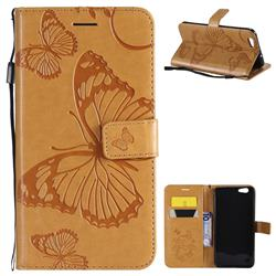 Embossing 3D Butterfly Leather Wallet Case for Oppo A59 - Yellow
