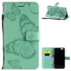 Embossing 3D Butterfly Leather Wallet Case for Oppo A59 - Green