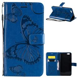 Embossing 3D Butterfly Leather Wallet Case for Oppo A59 - Blue