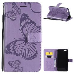 Embossing 3D Butterfly Leather Wallet Case for Oppo A59 - Purple