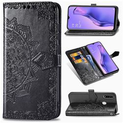 Embossing Imprint Mandala Flower Leather Wallet Case for Oppo A8 - Black
