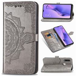 Embossing Imprint Mandala Flower Leather Wallet Case for Oppo A8 - Gray