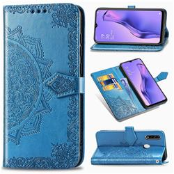 Embossing Imprint Mandala Flower Leather Wallet Case for Oppo A8 - Blue